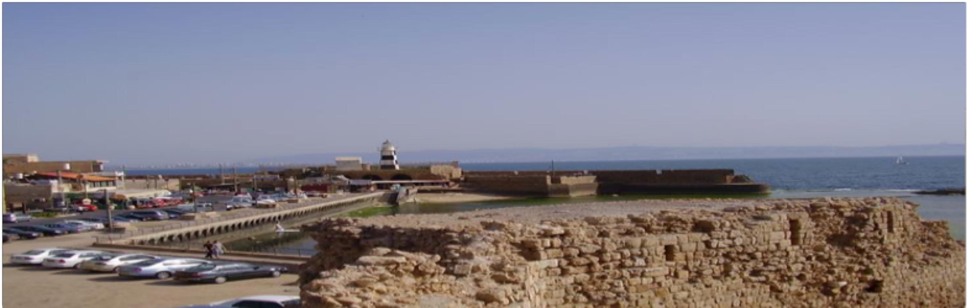 Akko with Haifa and Mt Carmel in background